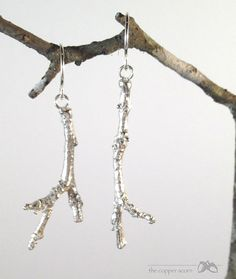 SMALL Sterling Southern Live Oak Twig Earrings by copperacorns