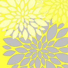 Yellow Gray Art Modern Vintage Floral Nature Prints 8x8 Set of 4. $47.00, via Etsy.