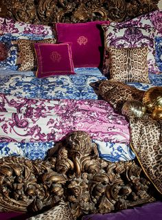 A mix of the iconic prints and textures of the Maison characterise the new #RobertoCavalli Home Ad Campaign!