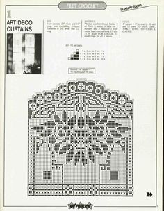 art deco curtains in filet crochet