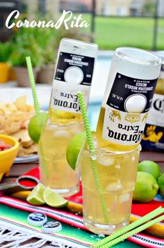 Cool off with a refreshing CoronaRita this summer. The mix of both margarita and Corona Extra® beer gives a fresh taste that your family and friends will love. Corona Drink, Margarita Recipes, Summertime Drinks, Summer Drinks, Fun Drinks, Alcoholic Drinks, Cocktails Vin, Cocktail Drinks, Desert Recipes