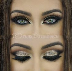 LOVE ✨@DressYourFace✨ signature glitter eye makeup finished off with #TAMANNA @DressYourFace for Flutter® Lashes Más