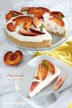 No bake Peach Cheesecake alle pesche senza cottura dolce estivo fresco soffice ricetta facile e veloce
