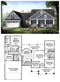 Craftsman Style House Plan 55603 with 3 Bed, 2 Bath, 2 Car Garage Bungalow House Plans, Craftsman Style House Plans, Country House Plans, Craftsman Houses, Craftsman Bungalows, Craftsman Interior, Best House Plans, Dream House Plans, House Floor Plans