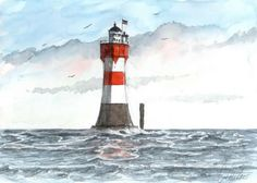 Leuchtturm-Roter-Sand-17-X-24-cm-Original-Aquarell-U-Koch