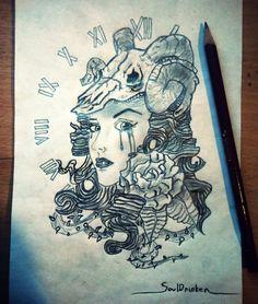 Draw girl skull rose 2014