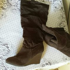 Brown suede boots In grear condition.  Dark brown under knee boots. 4 inches heel. Shoes Heeled Boots