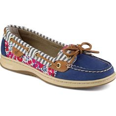 Sperry Women's Angelfish Liberty Floral Print Blue Performance Boating... ($95) ❤ liked on Polyvore featuring shoes, loafers, blue, floral shoes, boat shoes, laced shoes, blue floral shoes y floral pattern shoes