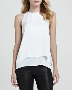 www.neimanmarcus.com- Lyalka Layered Georgette Blouse small white