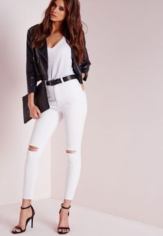 Missguided - Edie Ripped Knee Raw Hem Ankle Grazer Skinny Jeans White