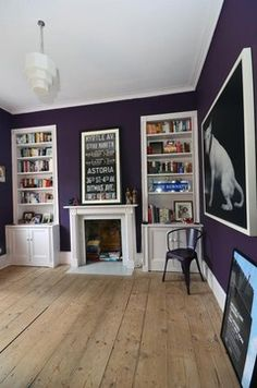 Farrow And Ball Pelt Purple Walls (not white for woodwork)