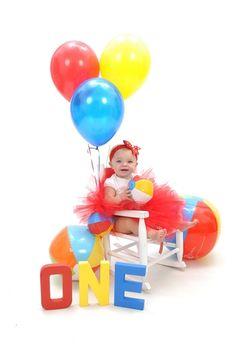 Beach Ball Bash - 1st Birthday Picture ~ Isn't she a cutie!