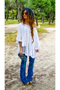 "I ❤ this top and I'm sooooo diggin' the whole ""flower child/hippie"" vibe....and while I DO ❤ me some heels, I'd most likely switch the heels out for more of a ""bohemian"" styled sandal....and not necessarily Birkenstock's either!!"