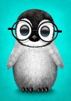 Cute Baby Penguin Wearing Eye Glasses on Blue | Jeff Bartels