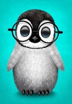 Cute Baby Penguin Wearing Eye Glasses on Blue | Jeff Bartels