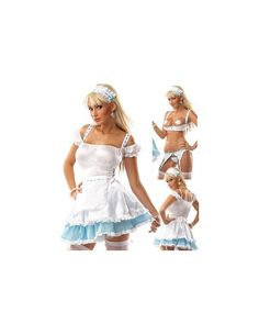 6 Piece Little Bo Peep Halloween Costume includes Lycra and Eyelet with Blue Ribbon Accent Dress, Matching Headpiece, Stockings, Very Sexy Eyelet Garter Belt, Crotchless G-string and Demi Cup Bra. Pasties are not included.