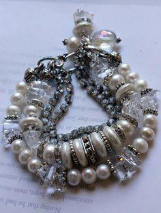 ON SALE chunky bracelet, pearl bracelet,multi strand bracelet, wedding bracelet, charm bracelet, artisan bracelet