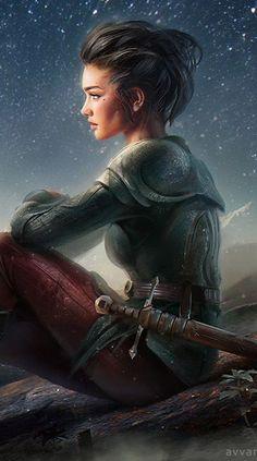On the starry skies' shore by avvart on DeviantArt (detail) | Warrior, fighter, woman, fantasy art, knight sword