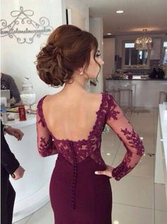 Burgundy Mermaid Prom Dresses Lace Long Sleeve Sexy Evening Gowns