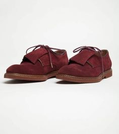 H by Hudson Lamarck Suede Derby Shoes in Bordo