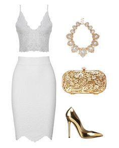 with a touch of metallic! soft feminine white high waist pencil skirt and intricate lace detail crop top. Teamed with metallic gold accessories. All White Outfit, White Outfits, Classy Outfits, White Fashion, Look Fashion, Fashion Outfits, Womens Fashion, Pencil Skirt Outfits, High Waisted Pencil Skirt