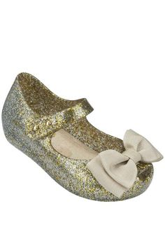 She's sure to shine in Mini Melissa Gold Glitter Sweet Bow Shoes, $60 FREE US SHIPPING