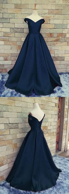 Navy Blue Off Shoulder Evening Prom dresses, A line Long prom dress, Custom Simple prom dress, Cheap prom dress, prom dress