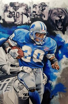 """""""Barry Sanders, Lion's on the Loose,"""" acrylic painting by Joshua Jacobs, 2016 Detroit Lions Football, Detroit Sports, Football Art, Football Helmets, Cincinnati Bengals, Clemson Football, Raiders Football, Vintage Football, Indianapolis Colts"""