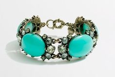 J CREW FACTORY STONE AND DOTTED CRYSTAL LINK BRACELET