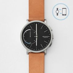 $215,- | Hagen Connected Titanium and Leather Hybrid Smartwatch