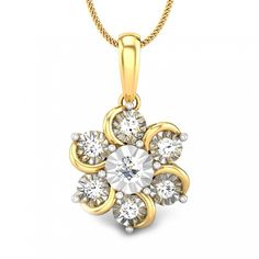 Round Diamond Yellow Gold 14K | Floral Petals Diamond Pendant | Candere.com