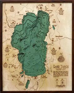 Large Wood Carved Nautical Chart of Lake Tahoe
