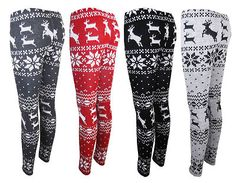 Nordic Reindeer Snowflake leggings $15.98. In red with a long winter white sweater dress... Am I such a nerd for loving these??