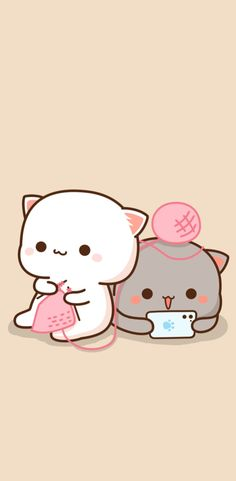 Cute Couple Wallpaper, Cute Emoji Wallpaper, Cartoon Wallpaper Iphone, Cute Cartoon Wallpapers, Chat Kawaii, Kawaii Cat, Cute Love Pictures, Cute Love Gif, Chibi Cat