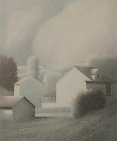 """""""A Late Awakening"""" Color lithograph 1986, Robert Kipniss"""