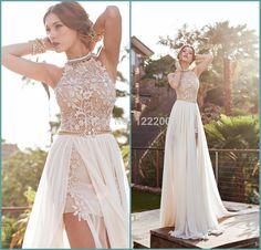 Julie Vino 2014 BacklessWedding Dresses Eden Halter  Chiffon Wedding Dress A-line Applique Pearls Sexy Side slit Bride Gowns $169.00
