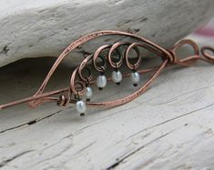 """Shawl pin, scarf pin, hair slide, hair barrette, brooch """"Lily of Valley"""" 2 in 1 copper wire wrap accessories"""
