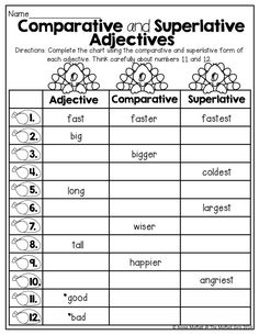 Comparative and Superlative Adjectives! TONS of great printables for ...