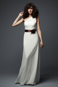 One shoulder chiffon bridesmaid dress with hand made flower sash