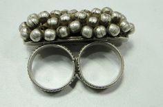 vintage antique ethnic tribal old silver double ring