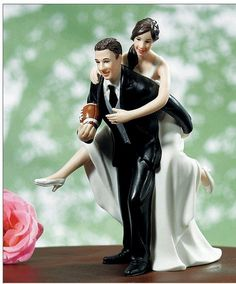 Normally I think most cake toppers are cheesy or even offense sometimes( the bride dragging the groom... Really what are you trying to convey when you pick that one?) but I could total see me having one like this