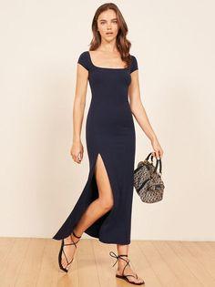 Fashion Square-neck High Waist Short-Sleeve Maxi Dress cc47b49f3