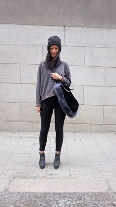 Sweatshirt, shoes and bag,Acne(it's not real fur:)