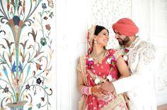 Sikh Indian wedding luxury wedding bride groom beauty pink silk jewels Bride Groom, Wedding Bride, Pink Silk, Luxury Wedding, Shoulder Dress, Indian, Jewels, Photography, Beauty