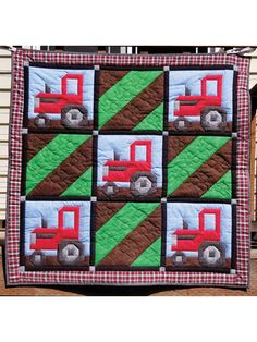 Create a warm bedspread for your room using one of our unique bed quilt patterns. You can find a bed quilt pattern to match your sense of style and skill-level. Tractor Quilt, Farm Quilt, Applique Quilt Patterns, Pattern Blocks, Crochet Quilt, Quilt Bedding, Easy Quilts, Square Quilt, Quilt Making