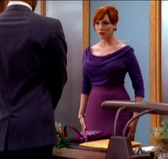Joan Holloway--loved this purple ensemble on that episode