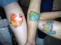Colorful Three Pokemon Tattoo Design For Forearm