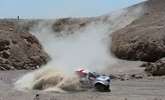 Giniel De Villiers and co-pilot Dirk Von Zitzewitz of team Toyota compete in stage 5 from Arequipa to Arica during the 2013 Dakar Rally on January 9, 2013 in Arequipa, Peru