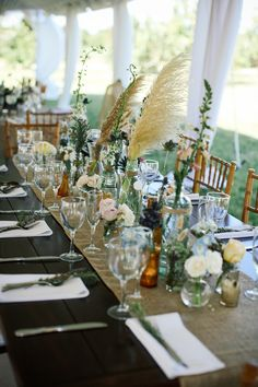 rustic reception decor by Ever After Floral Design / photo by angelawinsorphotography.com