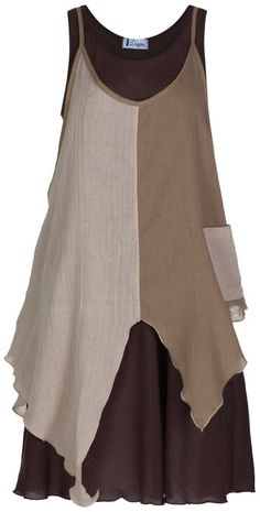 100% Cotton Dress 5 colours Bohemian hippie gypsy Lagenlook Dress IRZD021 (Brown 2)